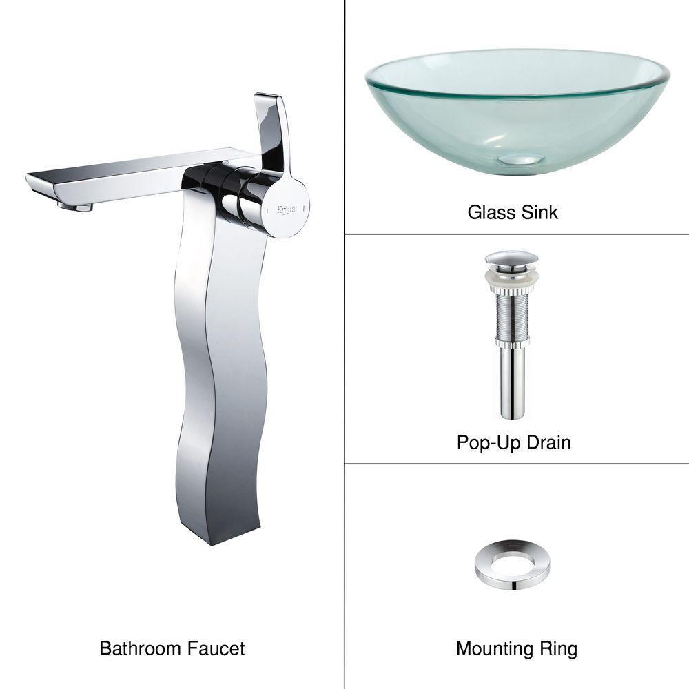 Lavabo-vasque en verre transparent et robinet Sonus, chrome