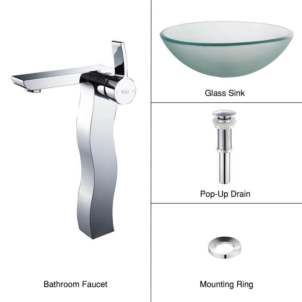Frosted Glass Vessel Sink with Sonus Faucet in Chrome
