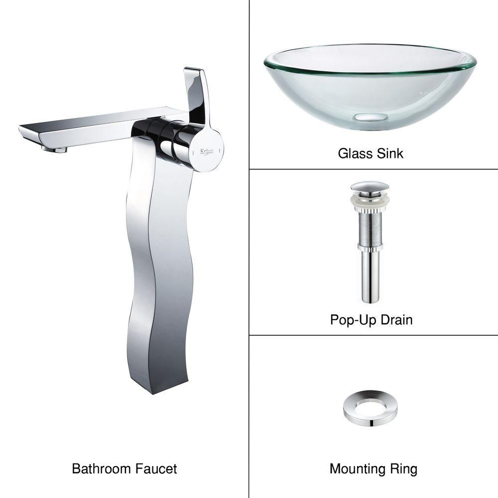 Clear Glass Vessel Sink with Sonus Faucet in Chrome