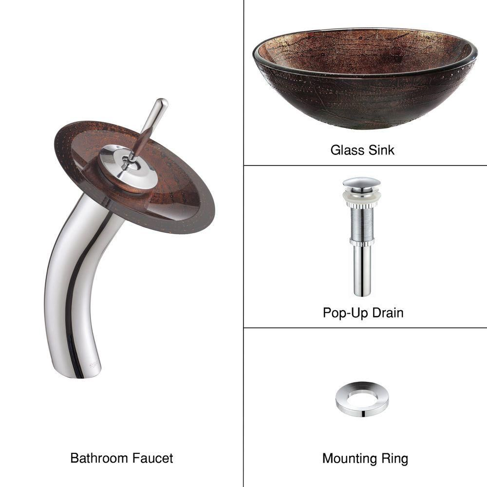 Glass Vessel Sink in Copper Illusion with Waterfall Faucet in Chrome