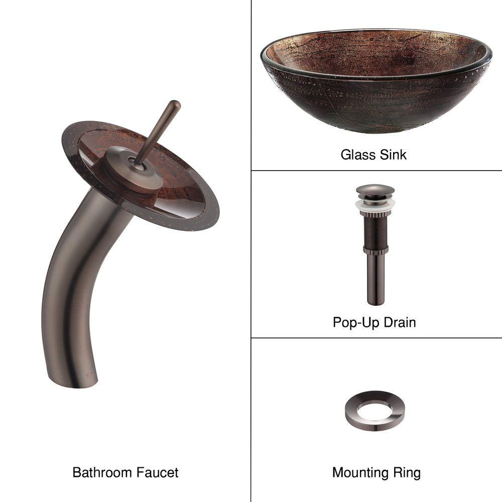 Glass Vessel Sink in Copper Illusion with Waterfall Faucet in Oil-Rubbed Bronze