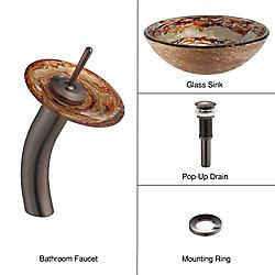 Kraus Lavabo-vasque en verre Ares et robinet à cascade, bronze huilé