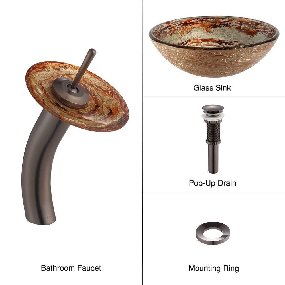 Ares Glass Vessel Sink with Waterfall Faucet in Oil-Rubbed Bronze