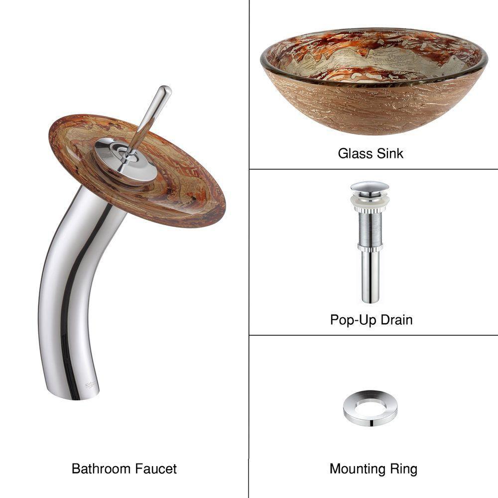 Lavabo-vasque en verre Ares et robinet à cascade, chrome