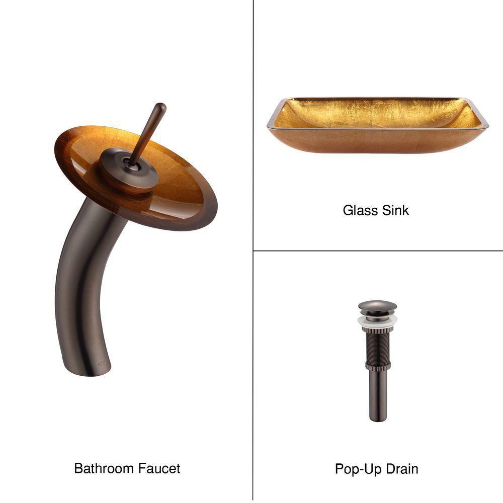 Lavabo-vasque rectangulaire en verre nacre doré et robinet à cascade, bronze huilé