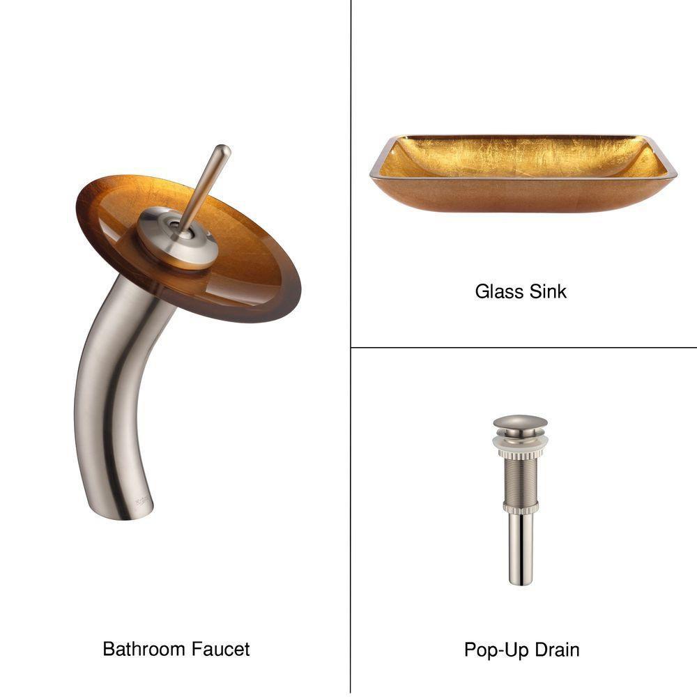 Lavabo-vasque rectangulaire en verre nacre doré et robinet à cascade, nickel satiné