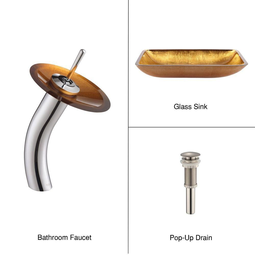 Rectangular Glass Vessel Sink in Golden Pearl with Waterfall Faucet in Chrome