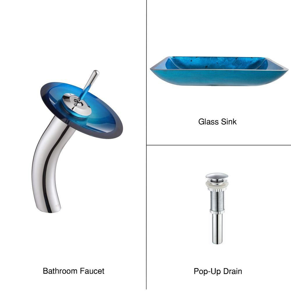 Irruption Rectangular Glass Vessel Sink in Blue with Waterfall Faucet in Chrome