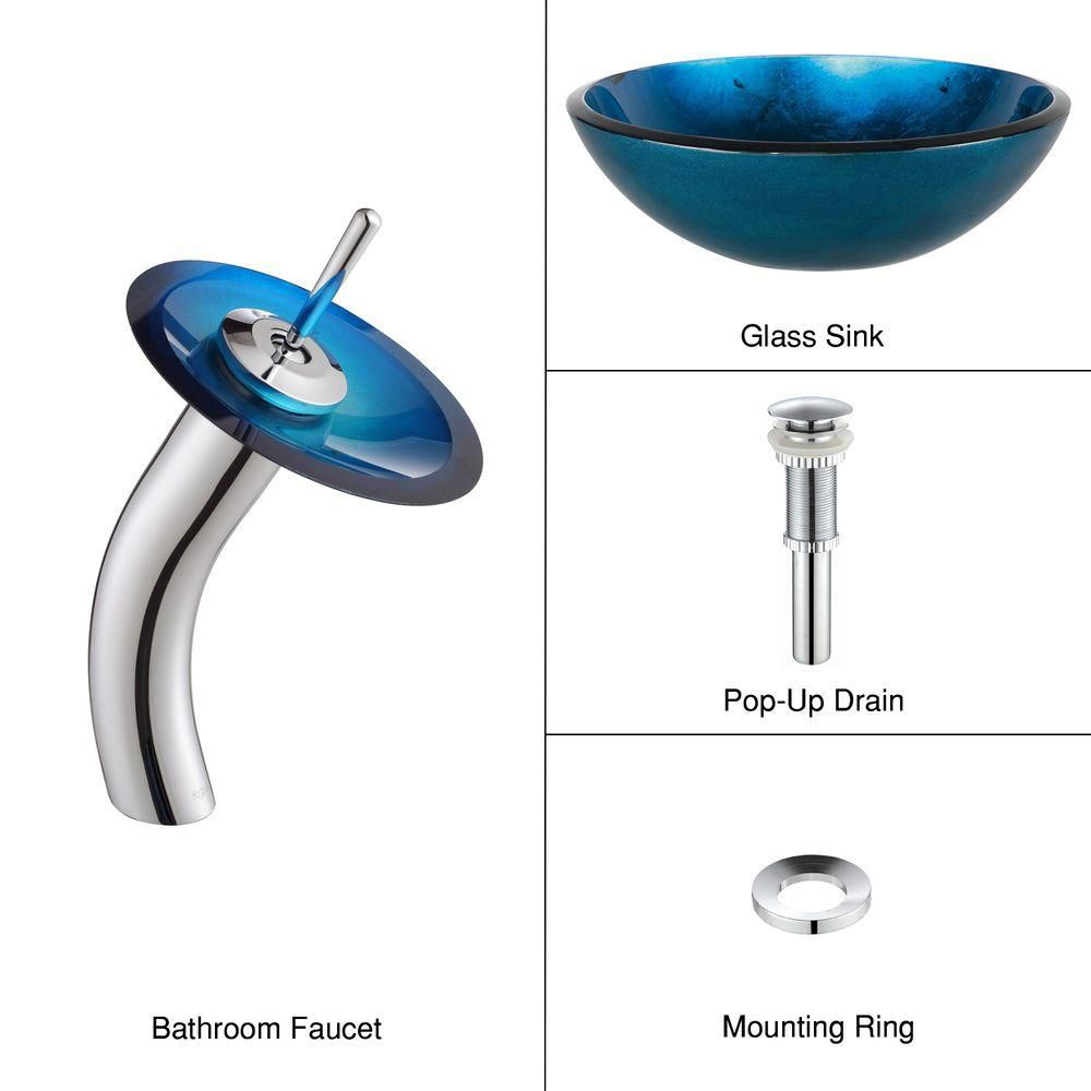 Irruption Glass Vessel Sink in Blue with Waterfall Faucet in Chrome