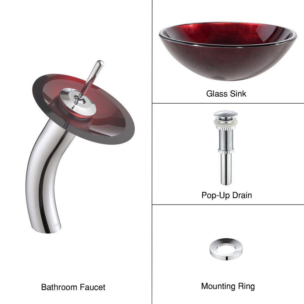 Lavabo-vasque en verre rouge Irruption et robinet à cascade, chrome
