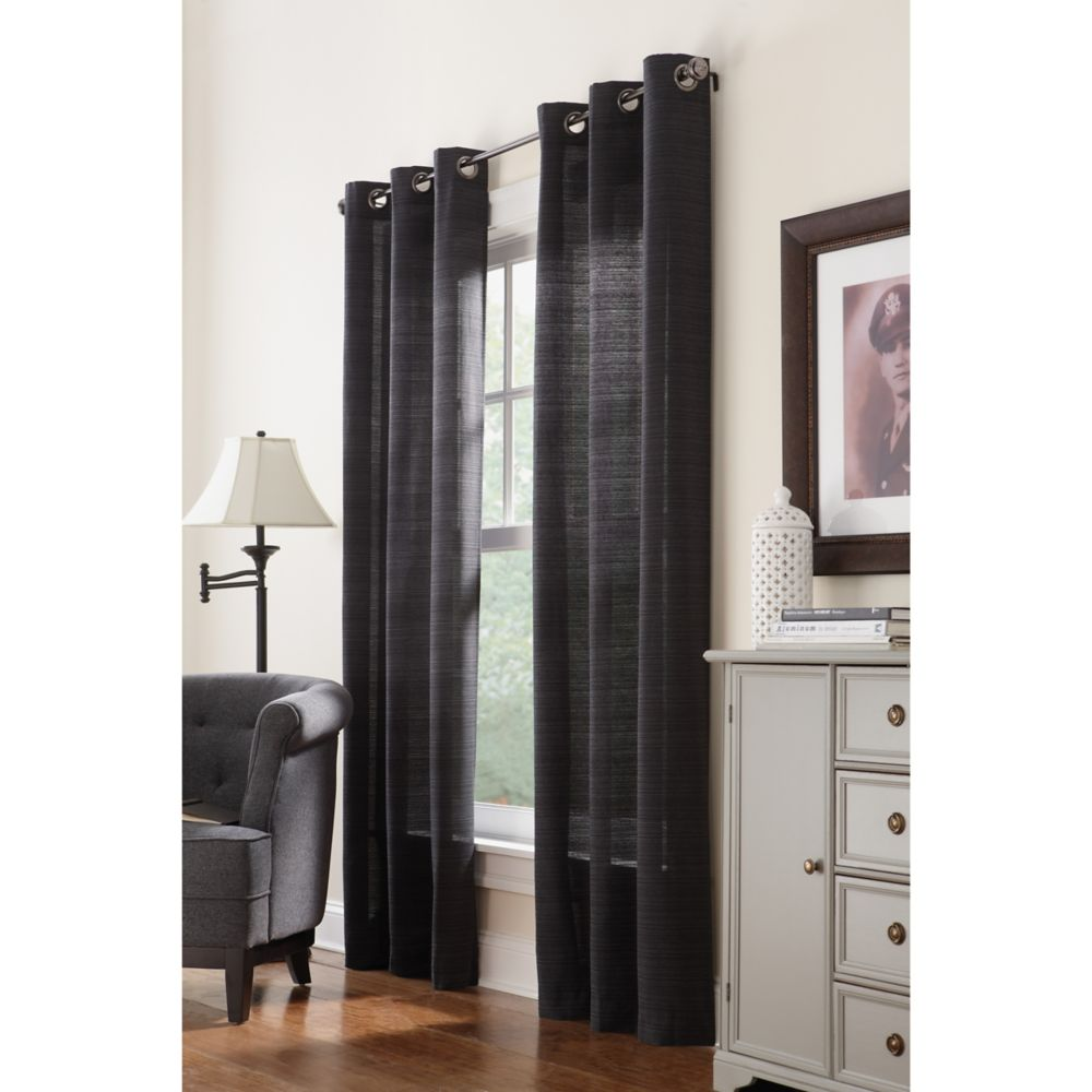 Ribbed texture Grommet, Black, 42 X 84 ""