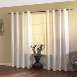 HDC Milano Light Filtering Grommet Curtain 54 inches width X 84 inches length, White