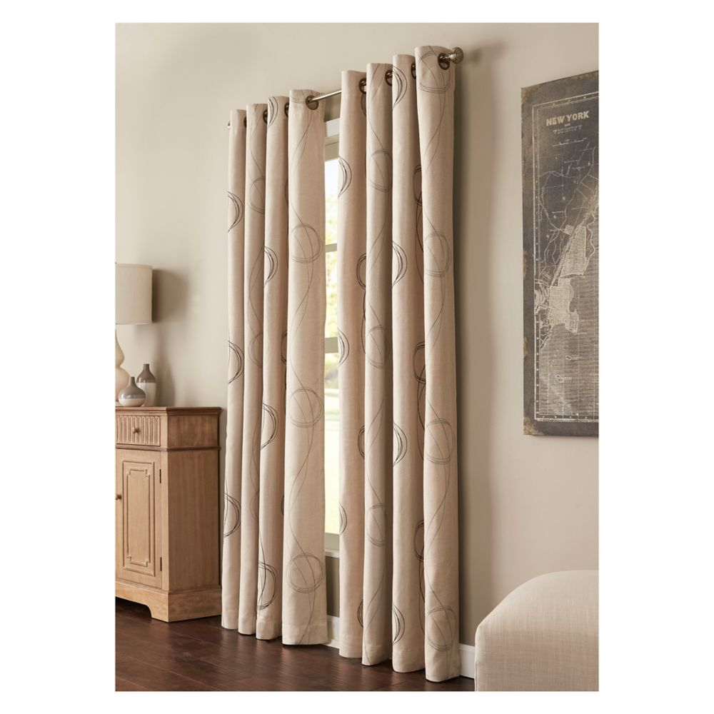 Printed Insulated Curtain, Natural - 54 Inches X 84 Inches