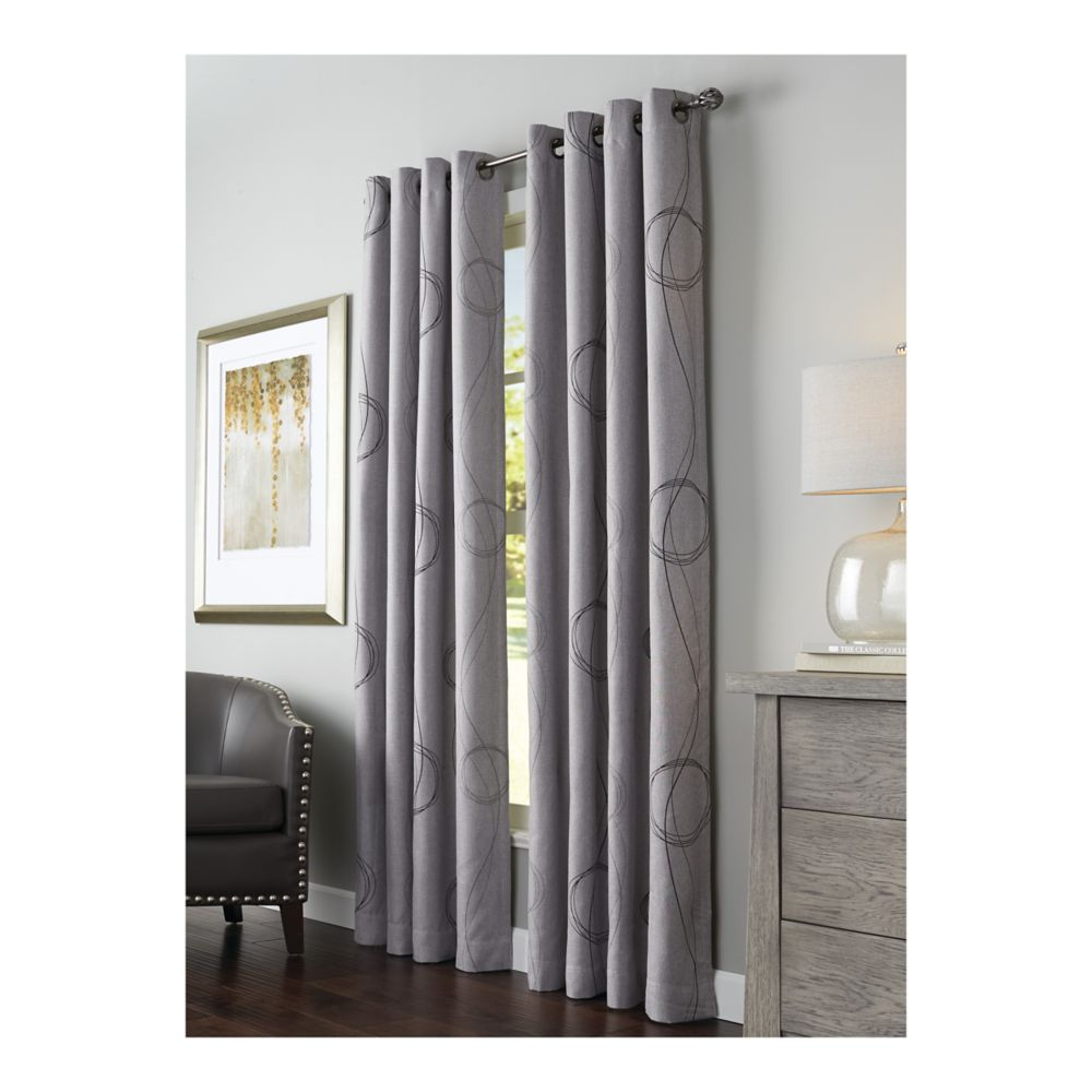 Home Decorators Collection Printed Insulated Curtain, Gray - 54 Inches X 84 Inches