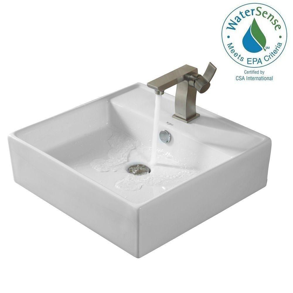 Square Ceramic Sink in White with Sonus Basin Faucet in Brushed Nickel