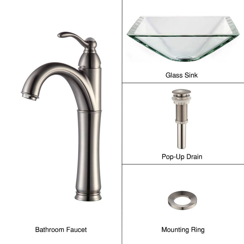 Clear Glass Vessel Sink in Aquamarine with Riviera Faucet in Satin Nickel
