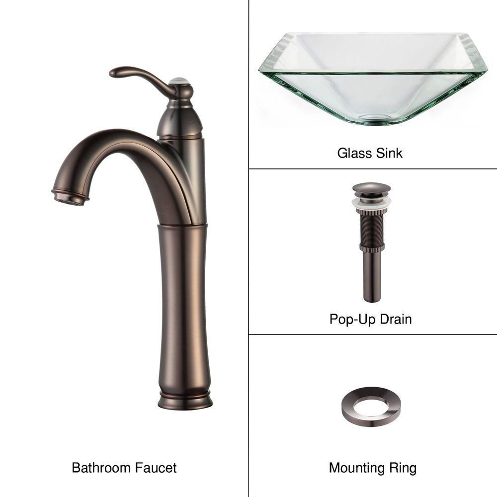 Clear Glass Vessel Sink in Aquamarine with Riviera Faucet in Oil-Rubbed Bronze