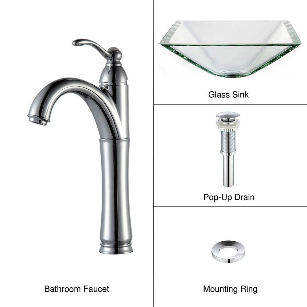 Clear Glass Vessel Sink in Aquamarine with Riviera Faucet in Chrome