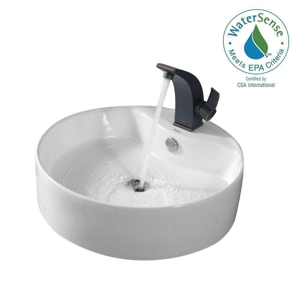 Round Ceramic Sink in White with Illusio Basin Faucet in Oil-Rubbed Bronze