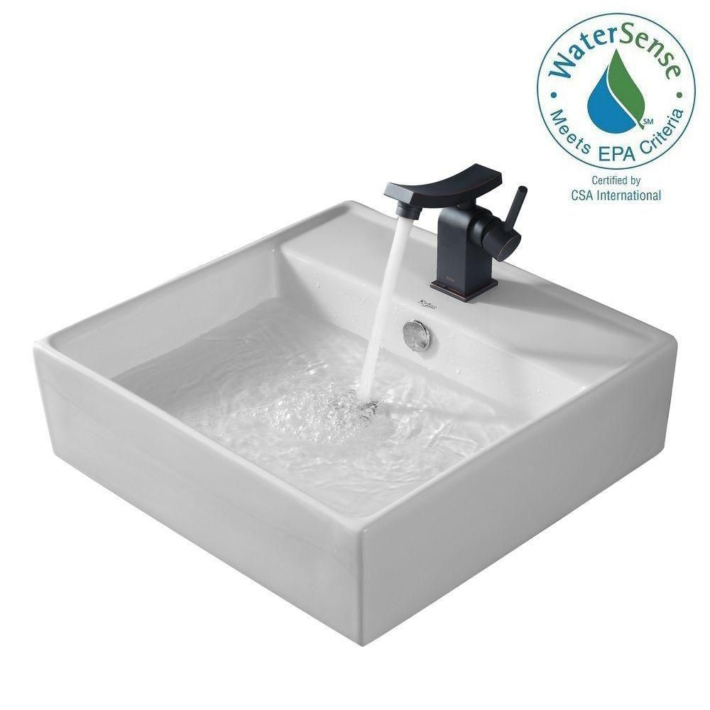 Lavabo carré blanc en céramique avec robinet de bassin Unicus, bronze huilé