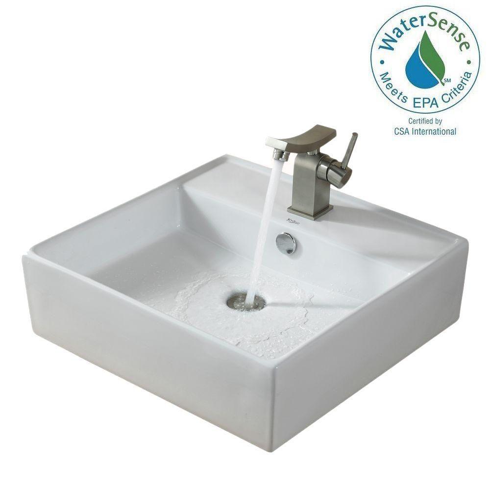Lavabo carré blanc en céramique avec robinet de bassin Unicus, nickel brossé