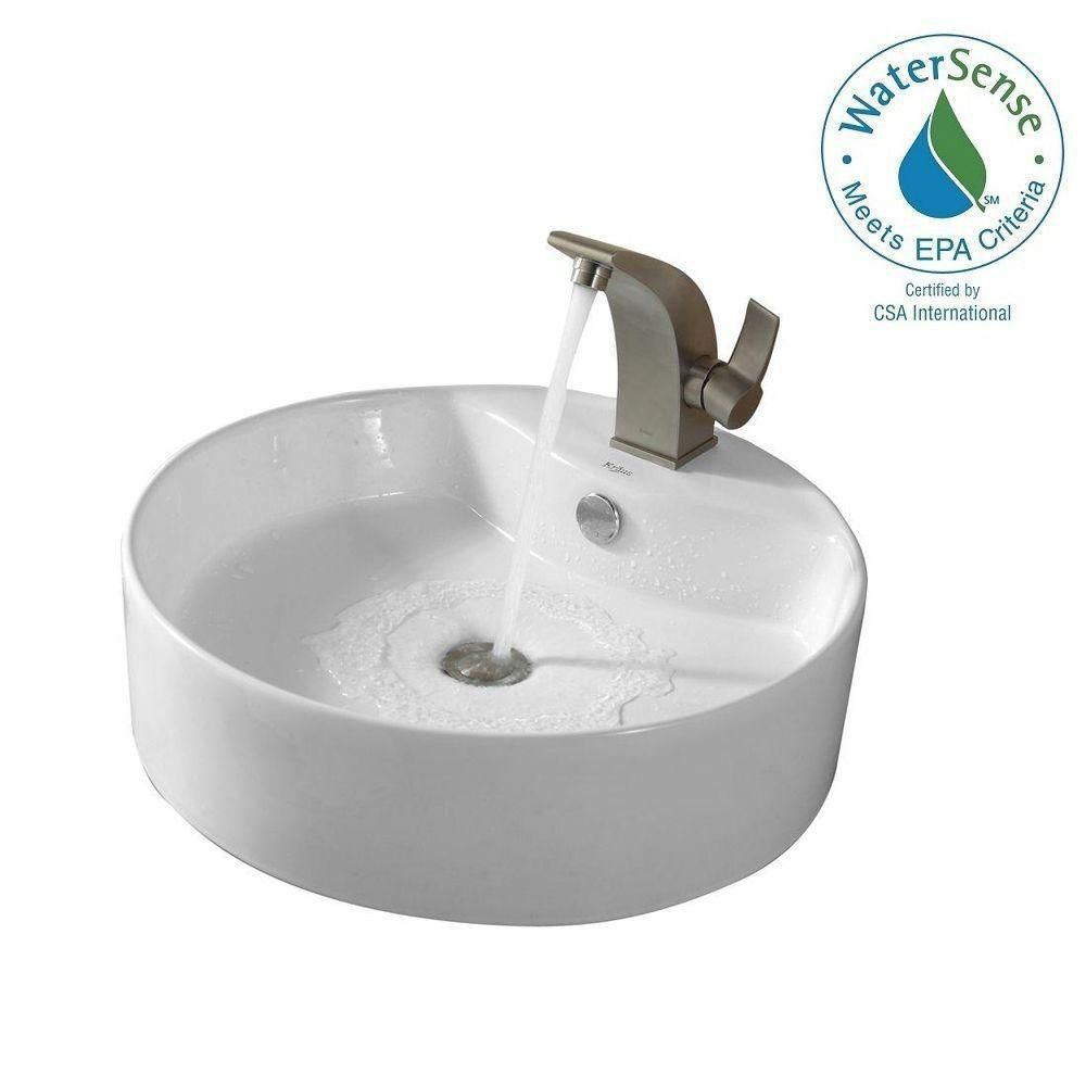Round Ceramic Sink in White with Illusion Basin Faucet in Brushed Nickel