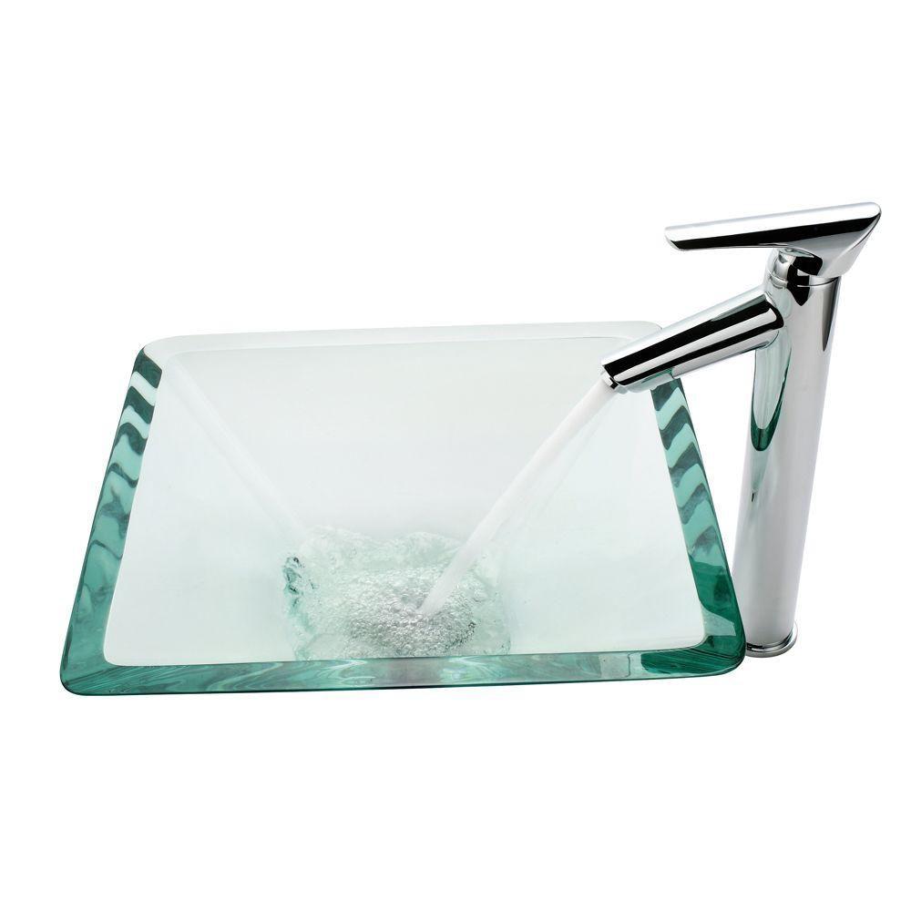 Lavabo-vasque en verre transparent aigue-marine et robinet Decus, chrome