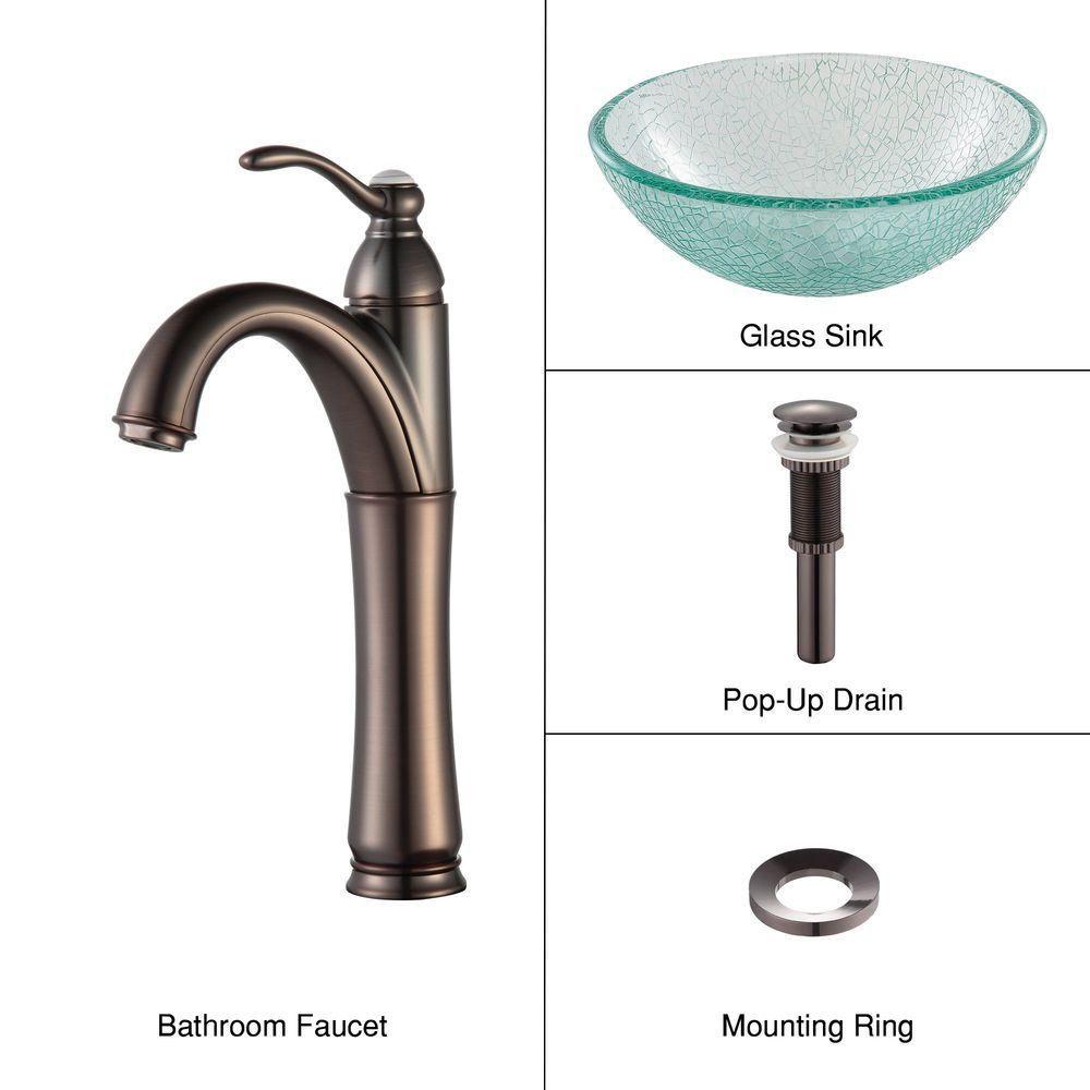 Lavabo-vasque en verre mosaïque 35,6 cm (14 po) et robinet Riviera, bronze huilé