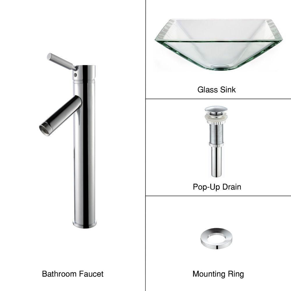 Clear Glass Vessel Sink in Aquamarine with Sheven Faucet in Chrome