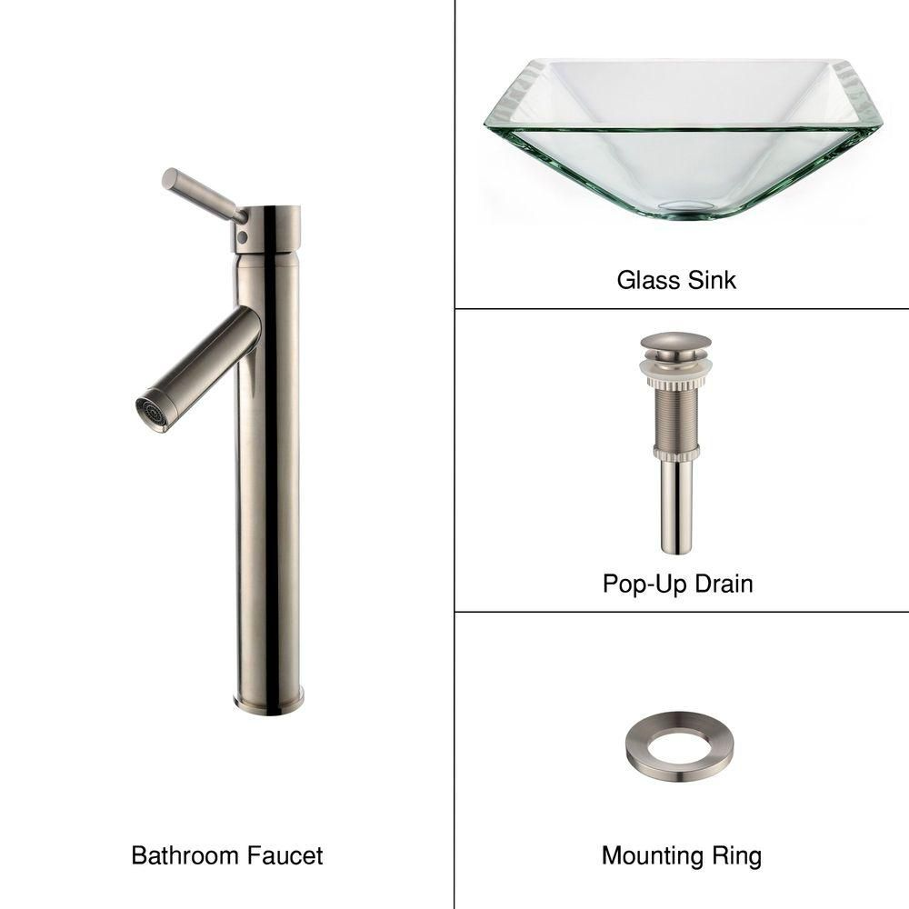 Clear Glass Vessel Sink in Aquamarine with Sheven Faucet in Satin Nickel