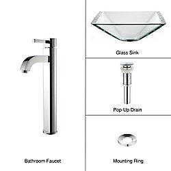 Kraus Lavabo-vasque en verre transparent aigue-marine et robinet Ramus, chrome