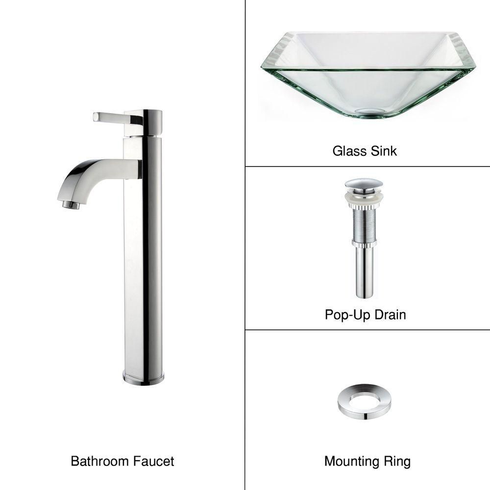 Clear Glass Vessel Sink in Aquamarine with Ramus Faucet in Chrome