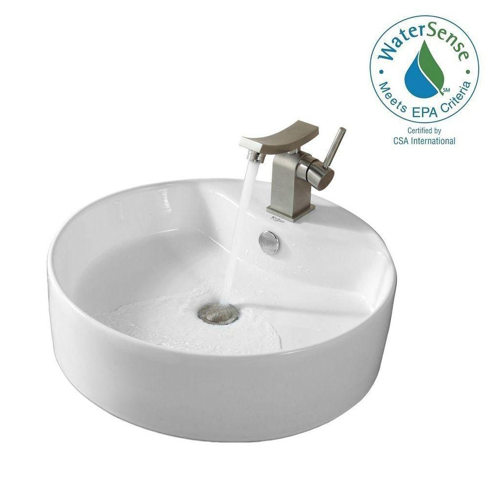 Round Ceramic Sink in White with Unicus Basin Faucet in Brushed Nickel