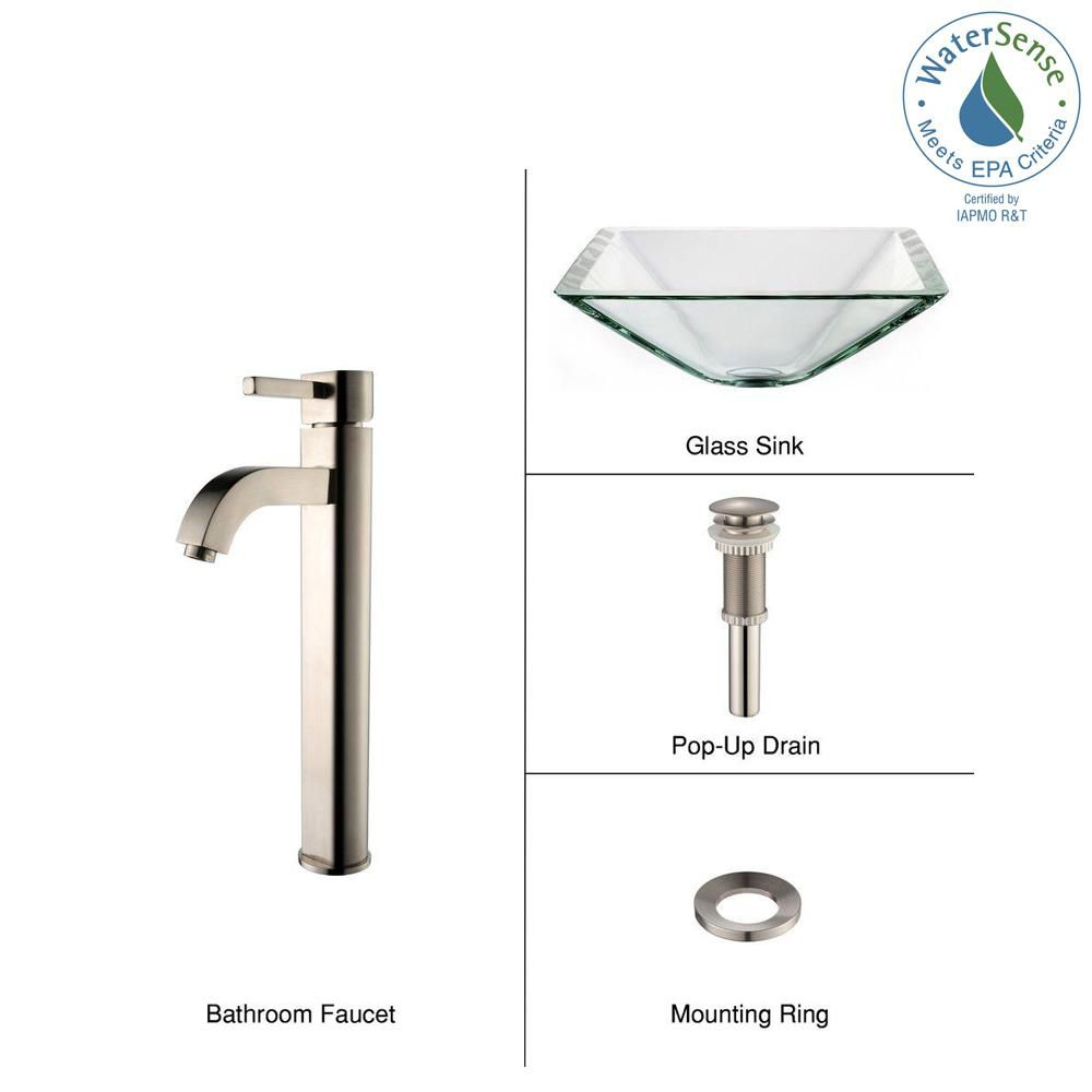 Clear Glass Vessel Sink in Aquamarine with Ramus Faucet in Satin Nickel