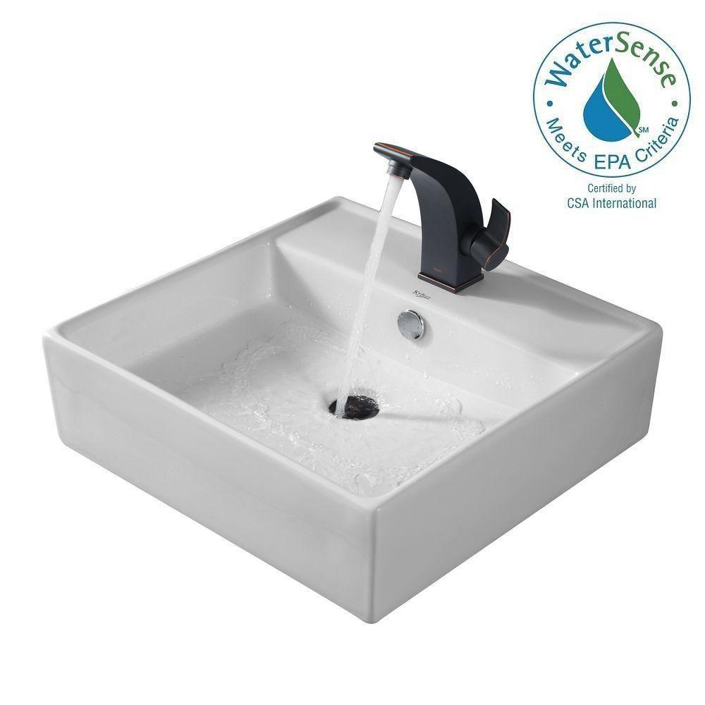 Lavabo carré blanc en céramique avec robinet de bassin Illusio, bronze huilé