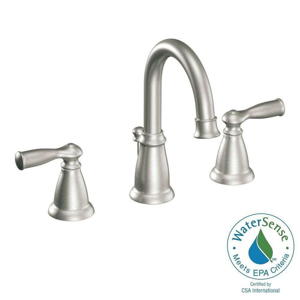 Moen banbury 2 handle widespread bathroom faucet in spot for Bathroom sink faucets