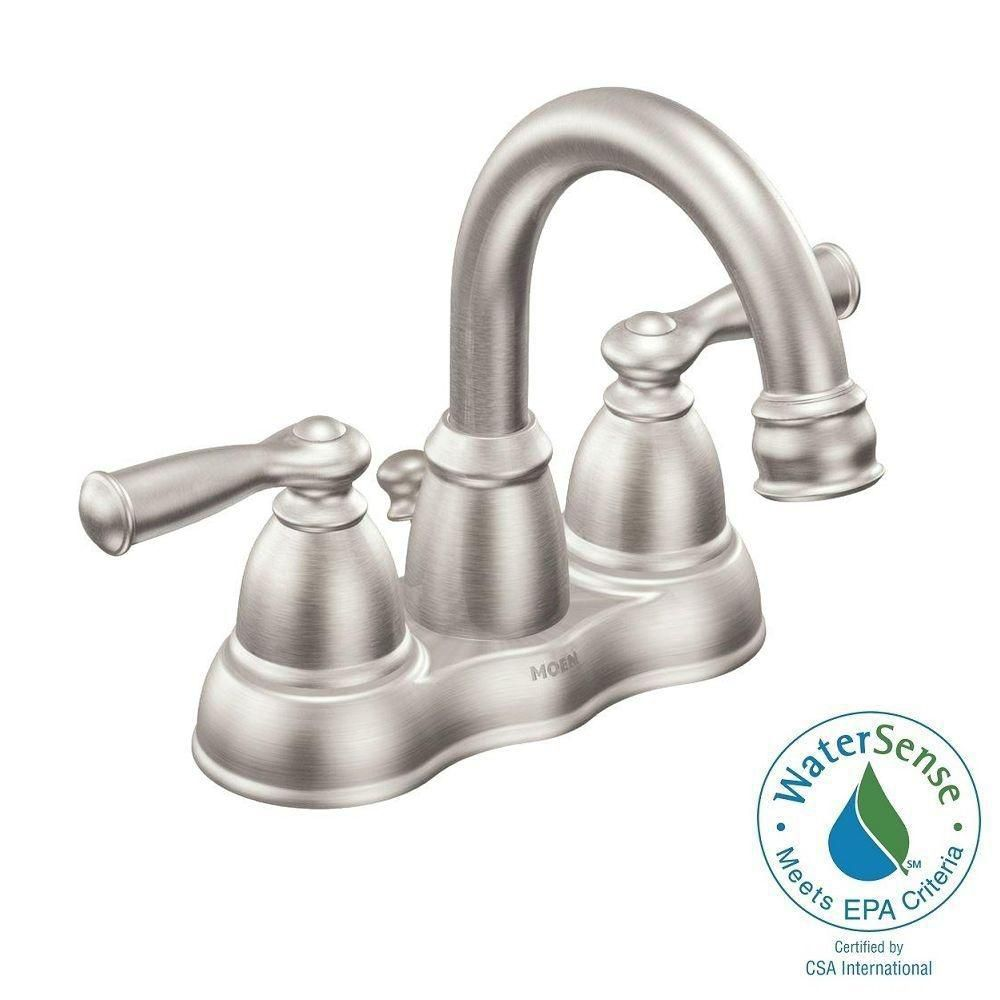 Moen Banbury 4-Inch Centerset 2-Handle Bathroom Faucet in Spot Resist Brushed Nickel