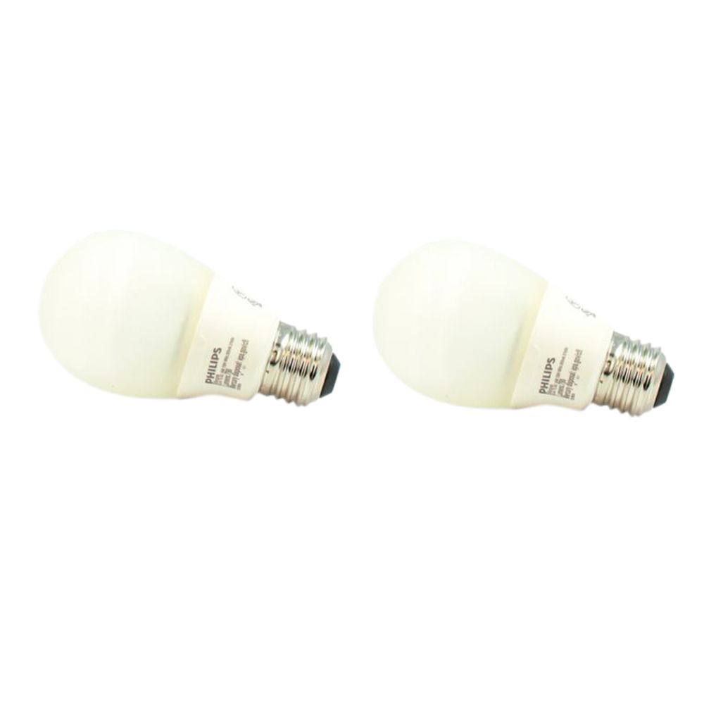 CFL 14W = 60W A-Line (A19) Silicone Medium Base Soft White (2700K) - 2 Pack