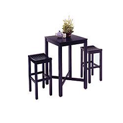 Home Styles Black 3-Piece Pub Table set