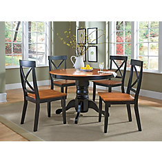 Black &Cottage Oak 5pc Dining Set