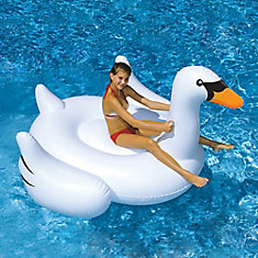 Giant Swan 75-inch Inflatable Ride-On Pool Toy