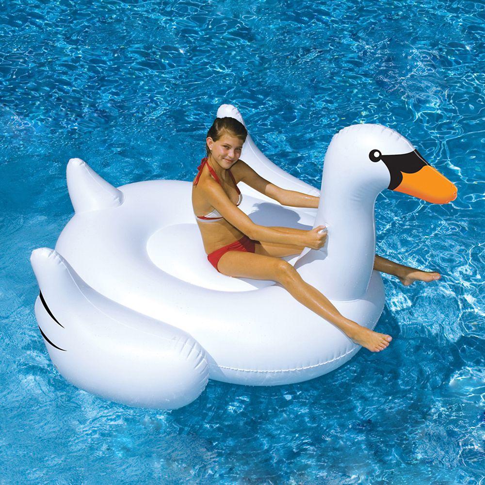 Jouet à chevaucher gonflable de piscine Giant Swan de 75 po. (1,90 m)