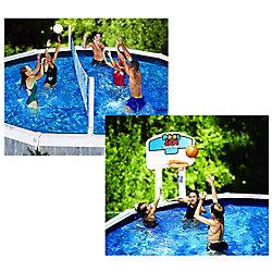Pool Gear Plus Jeu combiné de volley ball/ basket ball pour piscines hors-terre Pool Jam