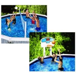 Pool Gear Plus Jeu combiné de volley ball/ basket ball pour piscines hors-terre Pool Jam