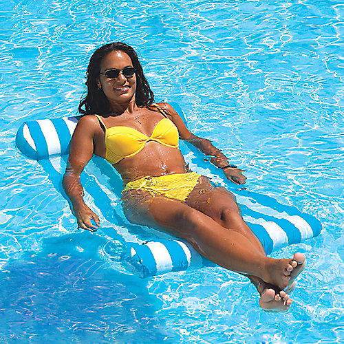 Premium 48-inch x 25 1/2-inch Aqua/White Water Hammock Pool Float
