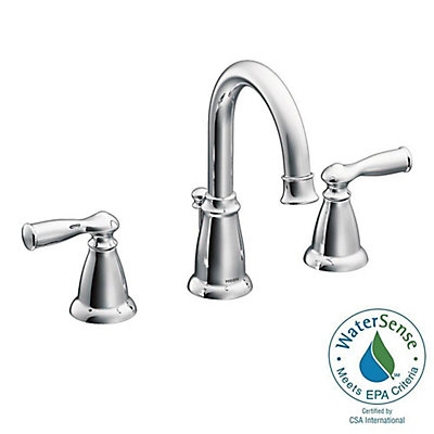 Moen Banbury 8 Inch Widespread 2 Handle High Arc Bathroom Faucet With Lever Handles In Chrome The Home Depot Canada