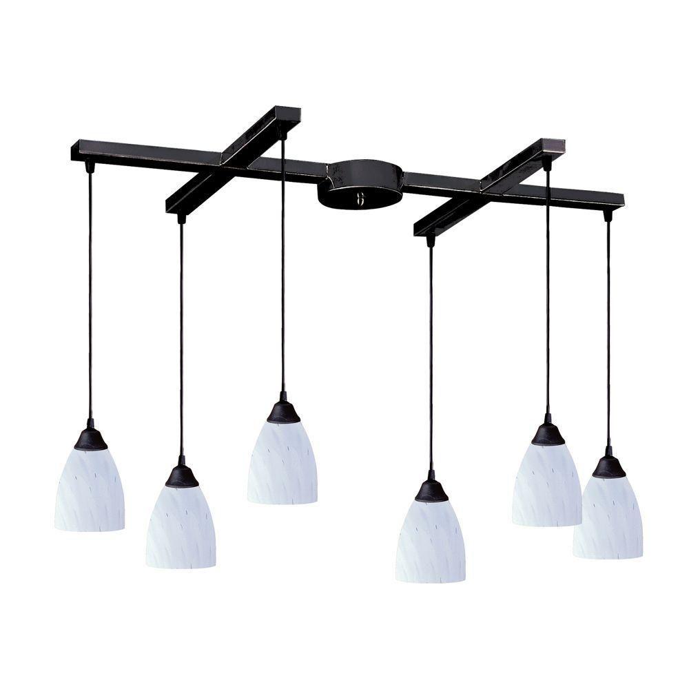 Luminaire suspendu à 6 ampoules au fini rouille sombre