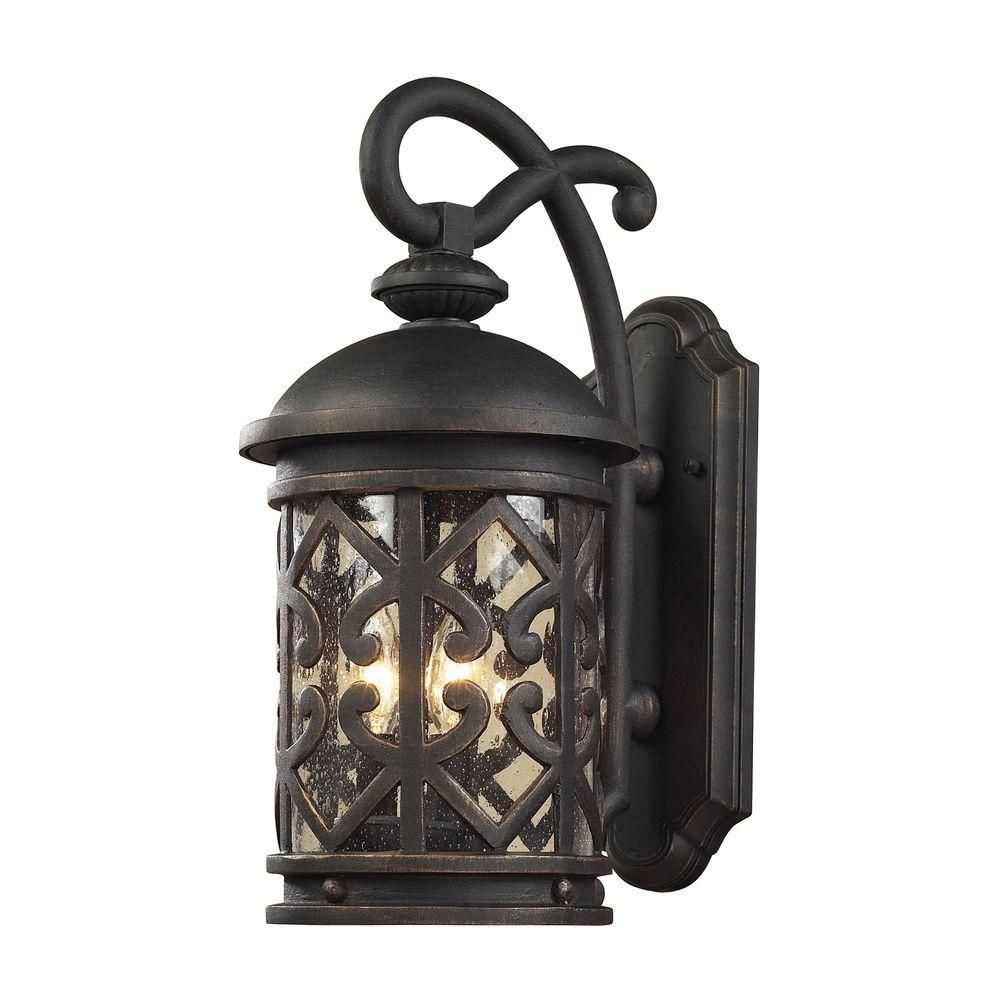3-Light Outdoor Weathered Charcoal Wall Sconce