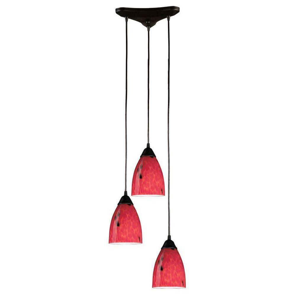 Luminaire suspendu à 3 ampoules au fini rouille sombre