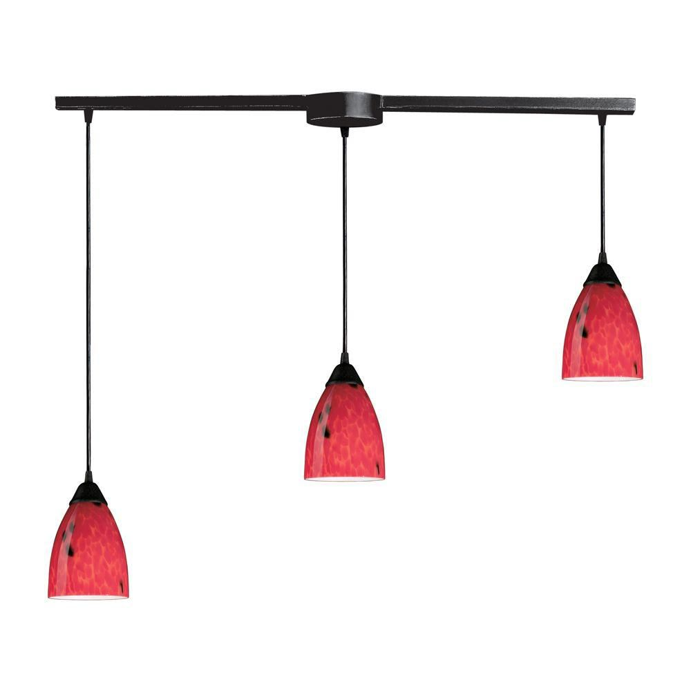 Titan Lighting  Luminaire suspendu à 3 ampoules au fini rouille sombre